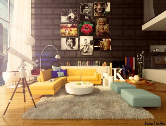 modern-minimalist-apartment-living-room-design-with-unique-yellow-sofa-white-rugs-and-posters-wall-decor